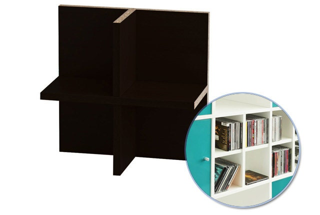 cd einsatz f r ikea kallax regal schwarzbraun. Black Bedroom Furniture Sets. Home Design Ideas