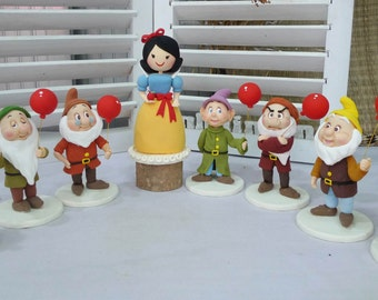 Snow white and the seven dwarfs cake topper clay doll,clay figurine for Disney princess theme,clay miniature decoration for special occasion
