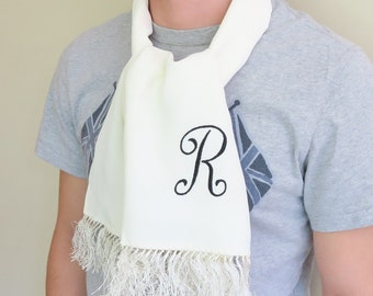 Vintage opera scarf, monogram R scarf, 50s tuxedo scarf, CURRIE gentleman's evening scarf, mens initialed scarf, long white scarf, initial R