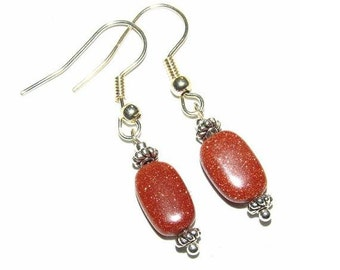 Sparkling Sienna Red Sitara Goldstone Oval Earrings