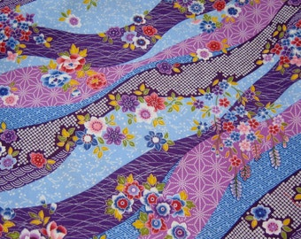 Japanese Flowers Cotton Fabric, Japanese cotton Fabric, Purple Fabric,Floral cotton Fabric, Fabric By the yard