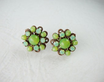 Bright Green Rhinestone Earrings. Gift Ideas for Her. Stud Earrings. Vintage Style Jewelry. Green Earrings. Gifts for Her