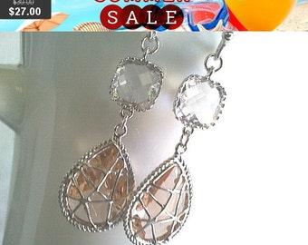 Champagne Earrings, Clear Earrings, Peach Earrings,Bridesmaid Gift,Wedding Jewelry , Drop, Dangle, Glass Earrings, clear wedding