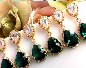 EMERALD Earrings, Emerald Green Gold Wedding Earrings, post earrings, Drop, Dangle Earrings,Bridesmaid Gift, Wedding Jewelry,Chirstmas GIFT
