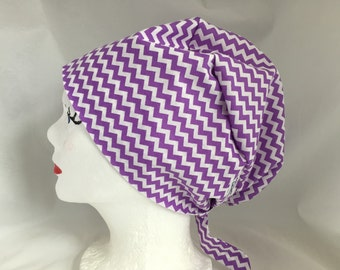 Scrub Hat Tie Back Pixie Style lavender chevrons