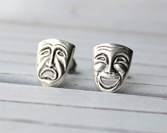 Comedy and Tragedy - antique finish silver plated mismatched post mask earrings