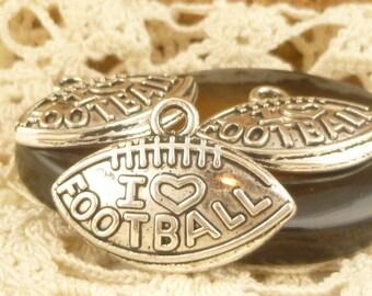 Silver Tone I love heart Football Charms (6) - S25