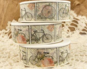 Vintage Bicycle Print Pink Roses Washi Tape - PP839