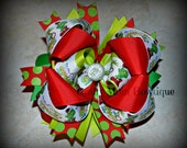The Grinch Christmas Themed Boutique Style Bow / Hairbow / Hair Bow / OTT / Over the Top / Layered / Holidays / Red / Green / Mean One
