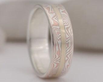 Mokume gane ring band, size 9, #617.