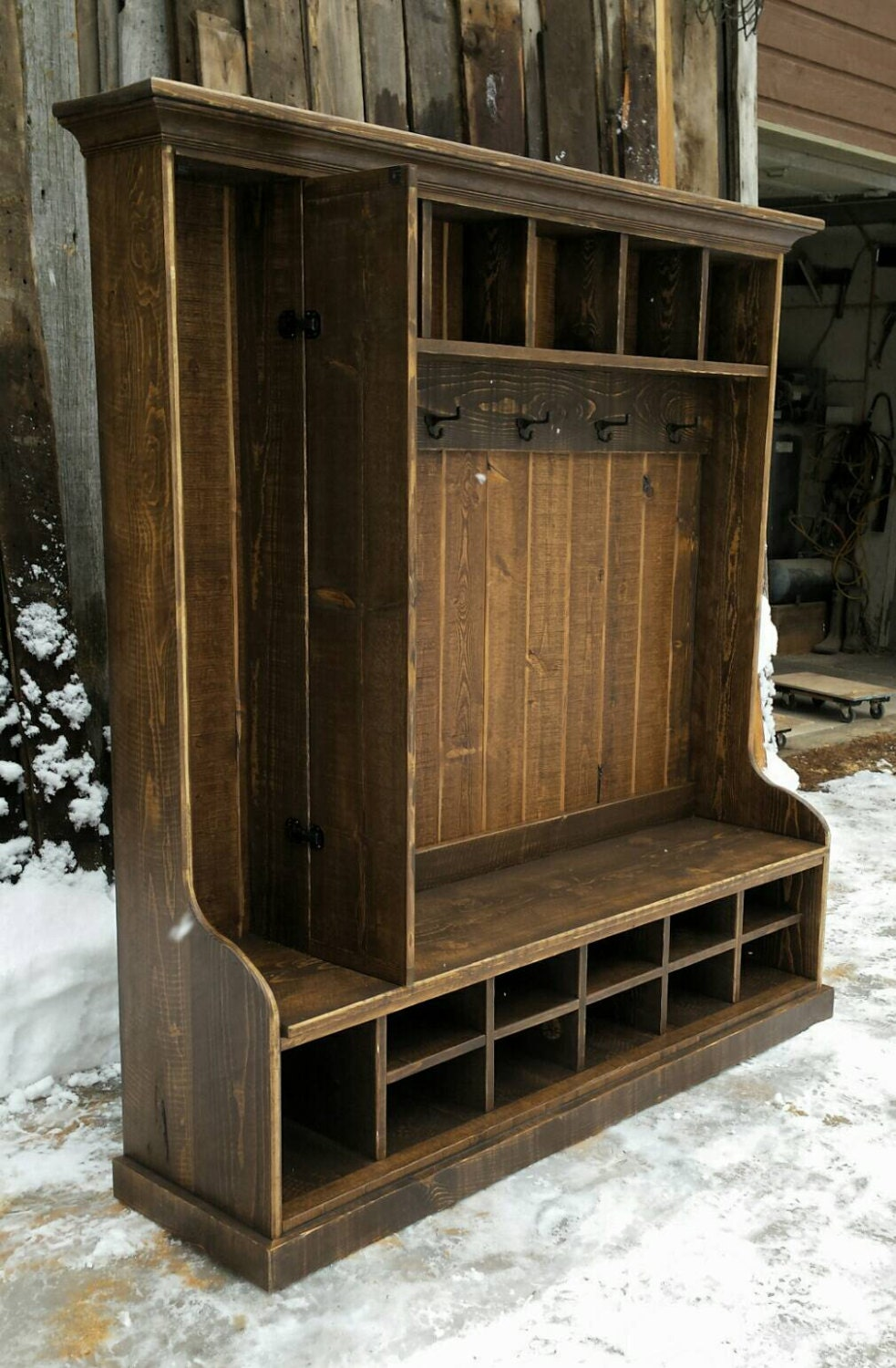 Rustic Reclaimed Hall Tree Locker Bench By Echopeakdesign On Etsy