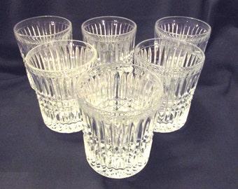 Fostoria Aspen crystal double old fashion bourbon whiskey rock glasses
