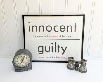 VINTAGE FLASH CARD - Innocent Guilty - Antonym - Art Print - Room Decor - 11 x 14 - Black White - Industrial - Graduation Present Law School