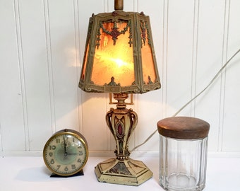 CAST IRON LAMP - Barbola Raised Floral  Flowers - Detailed - Roses - Painted - Shabby Cottage Boudoir Chic - Table Desk Lamp