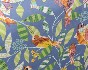 Spring Birds Fabric, Blue Linen Cotton Fabric With  Bright Birds Leaves Linen- 1/2 Yard