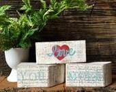 Love You More Sign - Wood Blocks - Long Distance Relationship - Conversation Blocks Shelf Sitters -