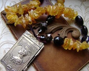 The Dancing Beauty, assemblage necklace, aide de memoir, metal dance card, amethyst, garnet, amber necklace, carnet de bal, AnvilArtifacts