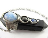 cepheus - star diopside & moonstone - obsidian crystal point pendant