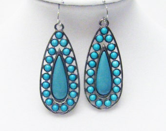 Silver Plated Tear Drop w/Turquoise Cabochons Earrings