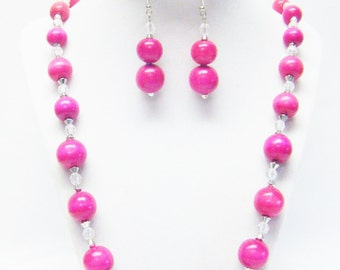 Fuchsia/Hot Pink Round Wood Bead Necklace/Bracelet/Earrings Set