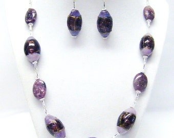 Chunky Oval Lavender Lamp Work Glass Bead Necklace & Earrings