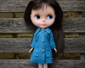Blythe doll sized turquoise blue boiled wool blend coat.  For Blythe, Dal, Pullip, Licca or similar scale dolls