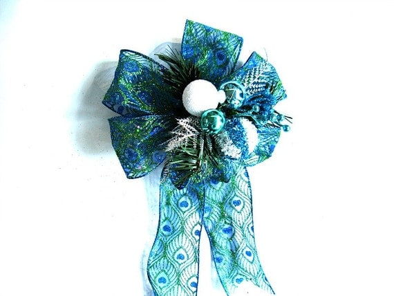 Glitter Christmas bow, Bow for Christmas gifts, Holiday decoration, Turquoise peacock gift bow, Bow for gift baskets and bags  (C563)
