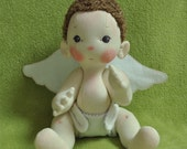 """SALE! Fretta's Original Peanut Baby Angel. 14"""" / 36 cm. Soft Sculpted Jointed Baby, Child Safe Cloth Doll"""
