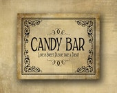 Candy Bar printed wedding sign - Love is sweet, please take a treat - Vintage Black Tie Design - your choice of 5x7 or 8x10