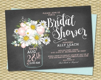Chalkboard Bridal Shower Invitation Floral Bridal Shower Invite Rustic Bridal Shower Mason Jar Daisies Blush Pink Mint Green Bridal Brunch