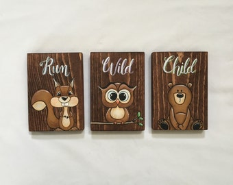 Run Wild Child, Woodland Nursery, Nursery Decor, Tribal Nursery, Baby Gift, Woodland Wall Art, Baby Boy Nursery, Nursery Sign
