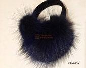 EM-85 Genuine Midnight Deep Blue Raccoon Fur Earmuffs (Adult or Child size you pick)