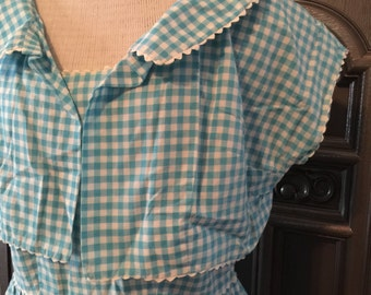 50s Turquoise Gingham Sundress and Bolero 32 W
