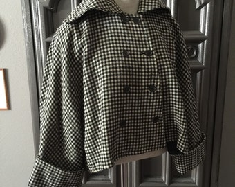 50s cropped Swing Black White Womens Suit Jacket