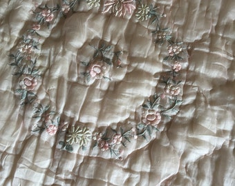 Beautiful 20s 30s Embroidered Pink Silk Baby Quilt