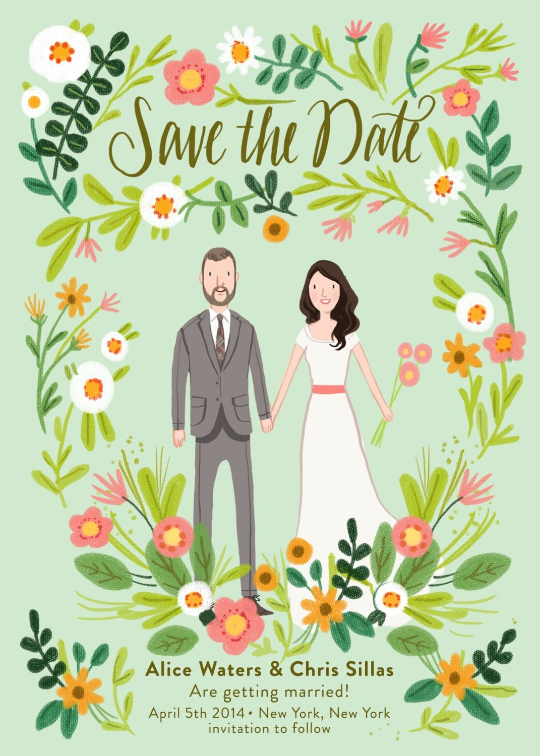 custom illustrated save the date card digital file only