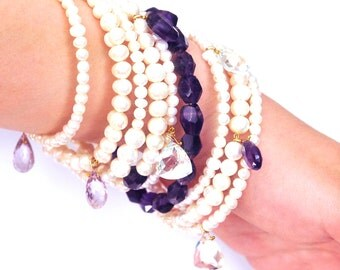 Beautiful Blazing Nine bangles Princess 9 Bracelets Set White Pearls/Lilac and Violet Amethyst/mother of pearl leaves/MOP/Swarovski crystals