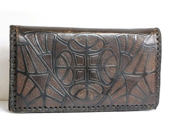 old french CLUTCH  tooled leather