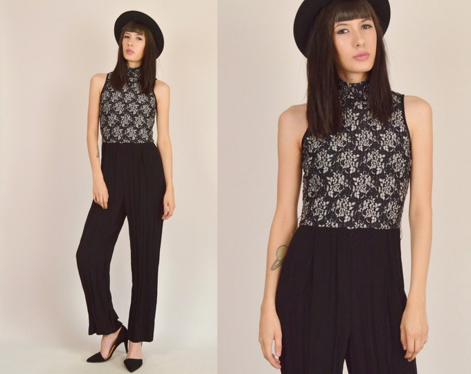 Vintage Jumpsuit Black Lace Womens