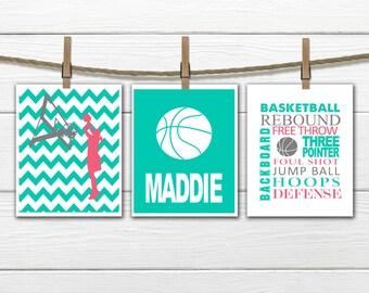 Girl's Basketball Print Set - Chevron - 3 Piece Set - Teen Girl's Decor - Choose Size and Colors CANVAS AVAILABLE