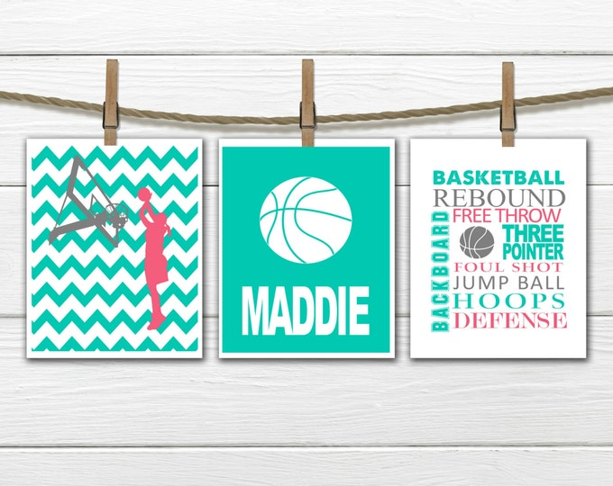 Girl's Basketball Print Set - Chevron - 3 Piece Set - Teen Girl's Decor - Choose Size and Colors CANVAS AVAILABLE