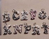 Black and white Zebra Pink Leapord Animal print plastic pendant charms Jewelry Making B C E F G J K N P R T Y Craft supplies Limited Amounts