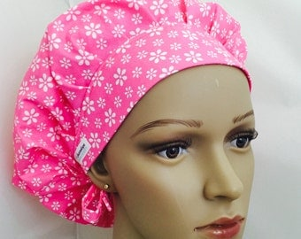 Bouffant Scrub Hat with ties - Bright Pink With White Flowers Bouffant scrub hat - Ponytail Scrub hat