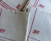 Free Shipping Towels Four 4  Vintage Unused Finest Linen Towels Red  Stripes Monogram FG Kitchen Runner, Bathroom Towels 1920 Napkins Unused