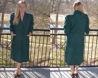 Women's Winter Coat, Joffeld Coat, Vintage Jacket, Ladies' Long Coat, Green Women's Coat, Long Pea Coat, Women's Overcoat, Wool Coat, Size M
