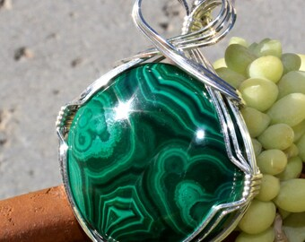 Malachite Stone Pendant, Sterling Silver Wire Wrapped, Emerald Green Stone Pendant, Handmade Stone Jewelry Necklace, Free Shipping USA
