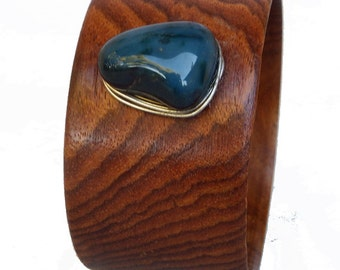 Wood Bangle with Blue Agate