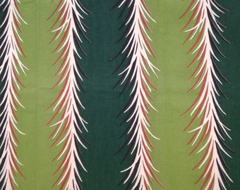 Pair of Vintage Fabric Curtains Forest Greens