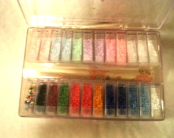 Plastic Case of Seed Beads of All Colors