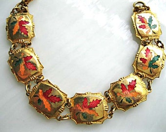 Oak Maple Leaf Fall Bracelet, Autumn Leaves Enamel Links, Gold Green Burgundy Copper, Harvest Bracelet